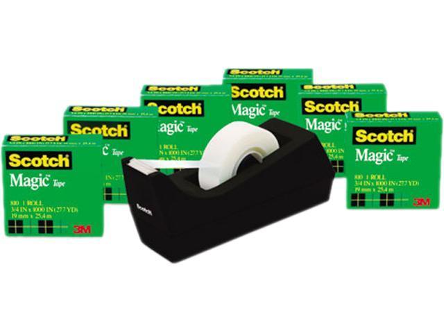 Scotch 810K6C38 Magic Tape Value Pack w/Dispenser, 3/4' x 1000', 1' Core, 6/Pack photo