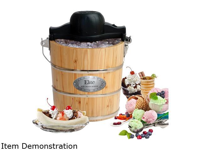 Elite Gourmet EIM-502 4Qt. Old Fashioned Pine Bucket Electric/Manual Ice Cream Maker photo