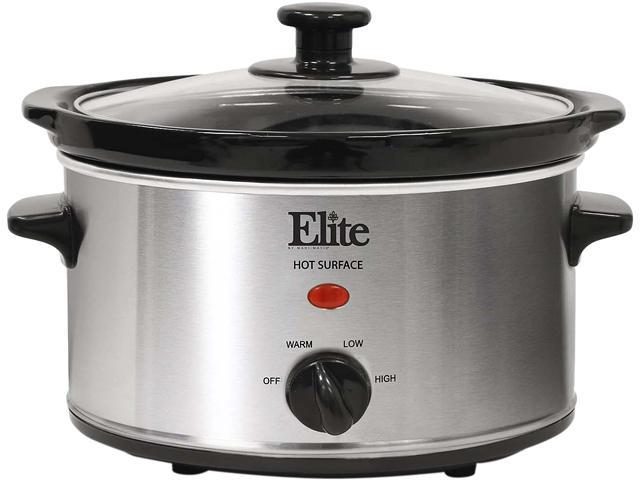 MAXI-MATIC MST-275XS Elite Gourmet 2 Qt. Slow Cooker, Stainless Steel photo