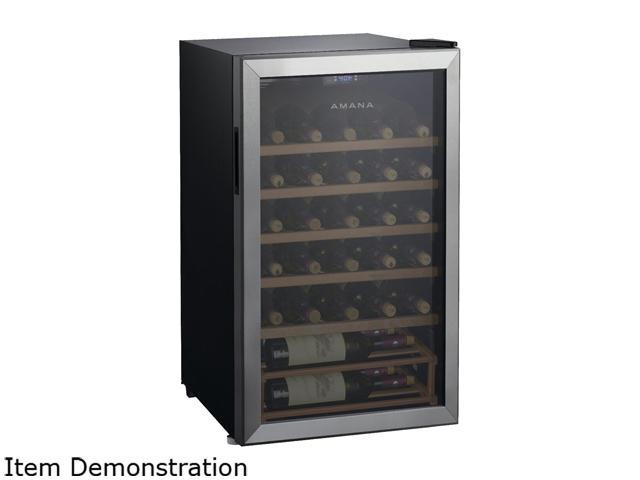 Amana AMAW35S2CW Single-Zone Wine Cooler with LED Thermostat Control and Wood Shelving Stainless photo