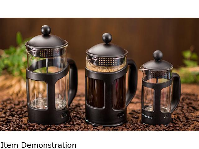 Ovente French Press Carafe Coffee 12 Ounce with Heat Resistant Glass 3 Filter Stainless Steel Plunger System, Portable Pitcher Coffee and Tea Maker. photo