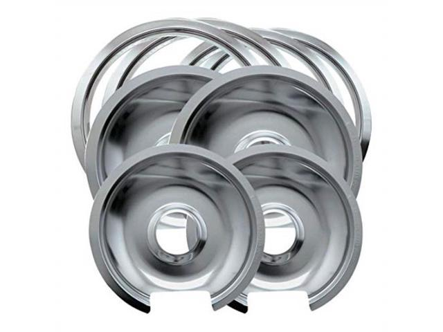 range kleen style d heavy duty drip pans and trim rings includes 2 small and 2 large for ge hotpoint photo