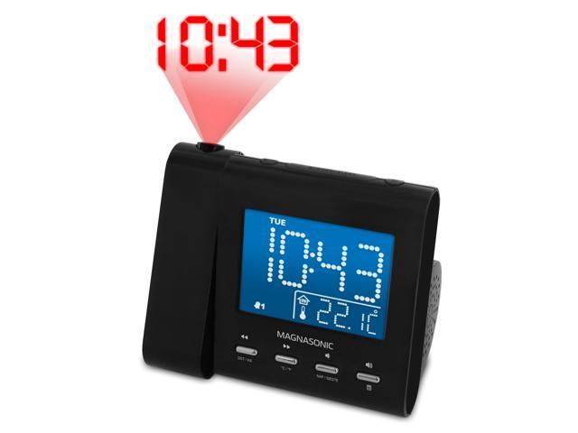 Magnasonic Projection Alarm Clock with AM/FM Radio, Battery Backup, Auto Time Set, Dual Alarm, Nap/Sleep Timer, Indoor Temperature/Date Display. photo