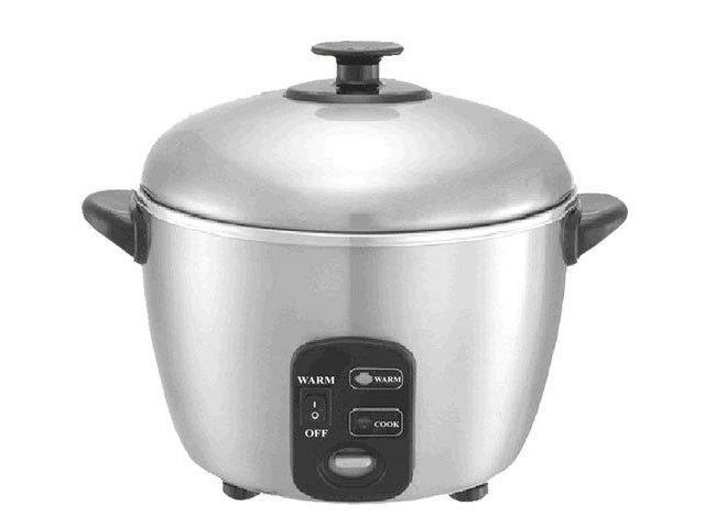 3 Cups Stainless Steel Rice Cooker And Steamer By Sunpentown photo
