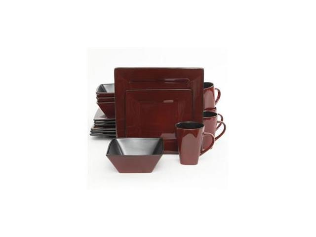 Gibson Elite Kiesling Stoneware 16-Piece Dinnerware Set, Red 107278.16 photo