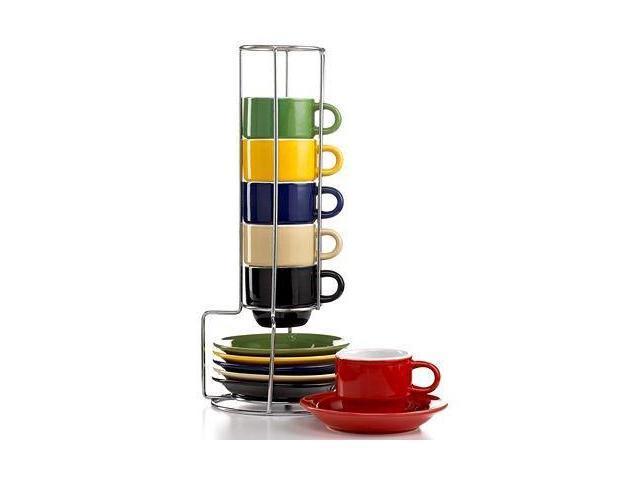 Sensations 13 Piece Tea set with Metal Rack in Espresso by Gibson Overseas photo