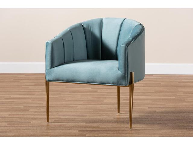 Baxton Studio Clarisse Glam and Luxe Light Blue Velvet Fabric Upholstered Gold Finished Accent Chair (193271037391 Furniture Chairs) photo