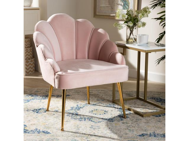 Baxton Studio Cinzia Glam and Luxe Light Pink Velvet Fabric Upholstered Gold Finished Seashell Shaped Accent Chair (193271077243 Furniture Chairs) photo