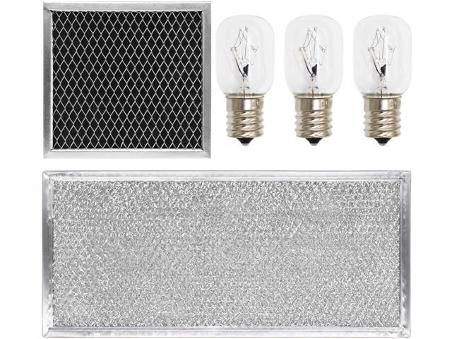 S-Union 5 Pcs 8206230A Charcoal Filter & W10208631A Grease Filter & 40w 8206232A Light Bulb Replacement Part for Whirlpool Microwave photo