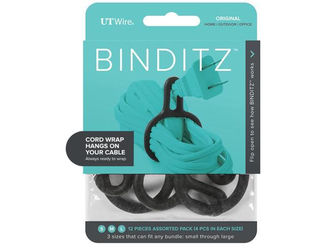 UT Wire UTW-R12-BK, Black Binditz Attachable Silicon Cable Wrap for Home, kitchen Small Appliances, Computer, Hair Dryer Cords in White Set of 12. photo