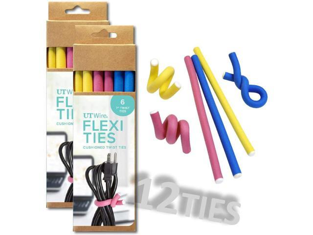 UT Wire 7' Flexi Ties Cable Wrap - (Yellow/Pink/Blue) - 12 Count photo