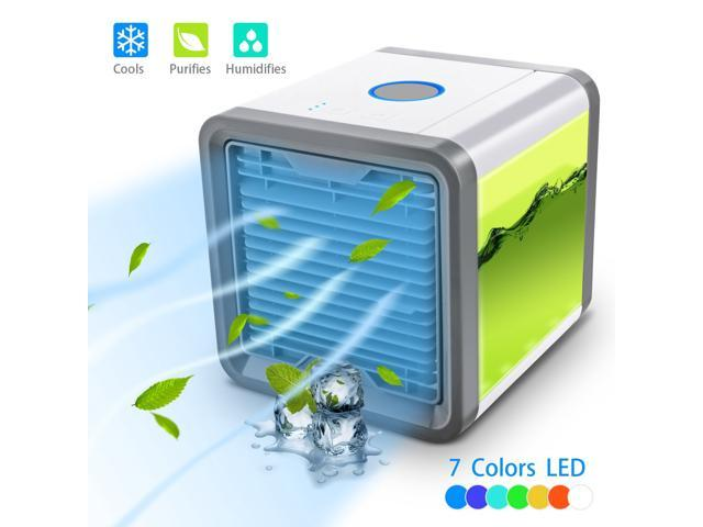 Mini Portable Air Conditioner, Personal Space Cooler Cooling Fan Air Purifier, Humidifier Cool Any Space, 7 Colors Nightstand As Seen On TV Desktop. photo