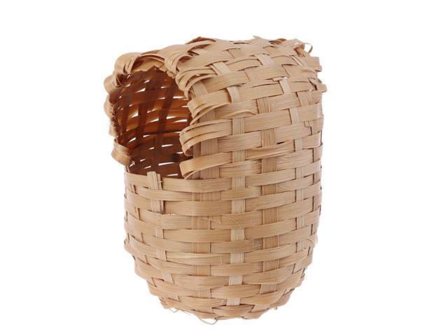 Natural Bamboo Bird House Handmade Bird Nest Cage Outdoor Hut Shelter (Electronics) photo