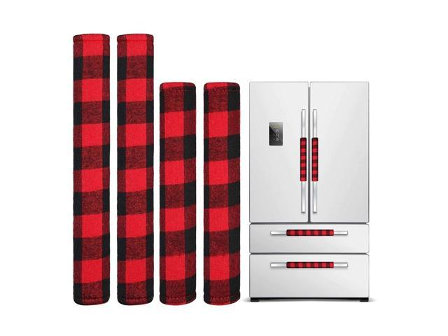 4 Pieces Christmas Refrigerator Door Handle Cover, Kitchen Microwave Oven Dishwasher Handle Cover (Red and Black Plaid) photo