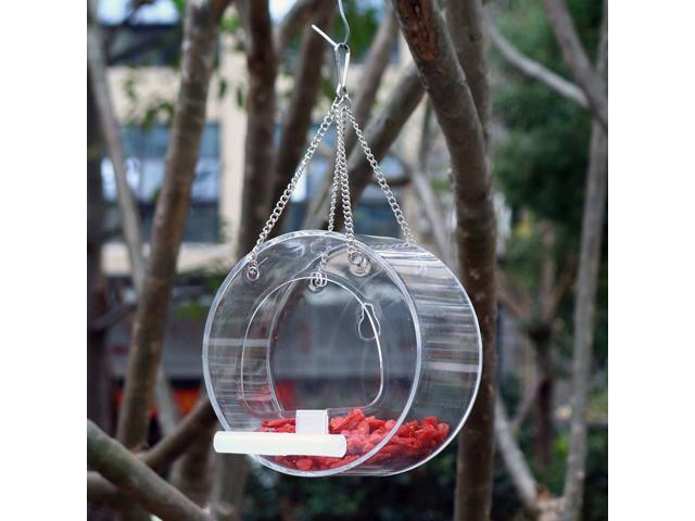 Acrylic Bird Feeder Clear Window Viewing Bird Feeder Waterproof Durable Transparent Round Food Box Hanging Feeding 12.5x7.5cm (Electronics) photo