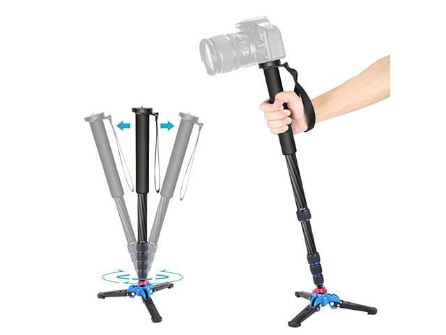 Extendable Camera Carbon Fiber Monopod with Removable Foldable Tripod Support Base 5Section Leg Max 66 inches for Canon Nikon Sony DSLR Cameras.