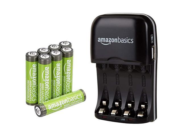 Basics 8 Pack AAA High-Capacity 850 mAh Rechageable Batteries with 4-Hour Rapid Battery Charger Set, Overcharge Protection, Pre-Charged