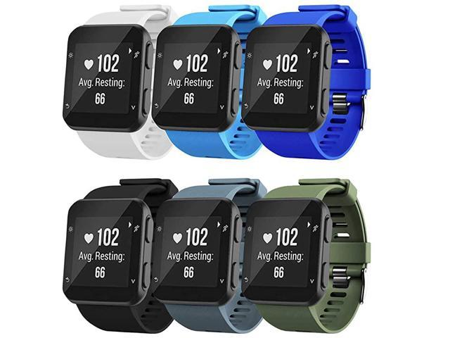 Band Compatible with Garmin Forerunner 35 Soft Silicone Replacement Watch Band Strap for Garmin Forerunner 35 Smart Watch 6Colors3Black buckle