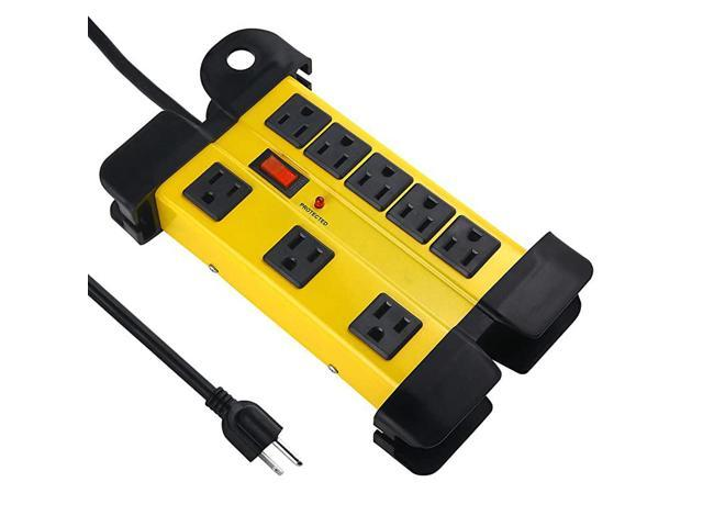 Duty Power Strip Surge Protector for Appliances, 8 Outlet Workshop Power Strip with 1200 Joules Surge, Metal Power Strip with 6FT Extension Cord. photo