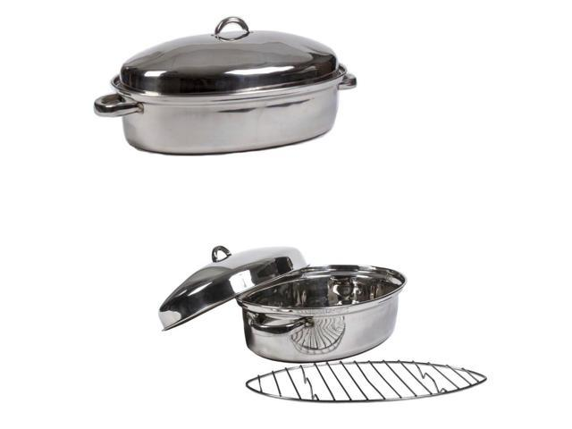 High Quality Stainless Steel Turkey Roasting Pan 15' Oval Multi Oven Roaster Pan photo