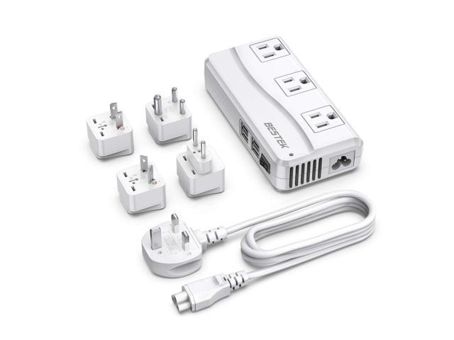 BESTEK Travel Adapter with UK Plug Universal 100-220V to 110V Voltage Converter 250W with 6A 4-Port USB Charging 3 AC Sockets and EU/US/India/AU. photo