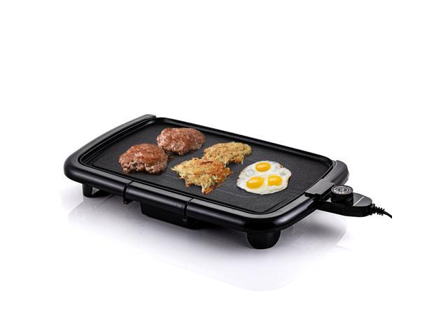 Ovente Electric Indoor Kitchen Griddle 16 x 10 Inch Nonstick Flat Cast Iron Grilling Plate, 1200 Watt with Temperature Control and Oil Drip Tray. photo