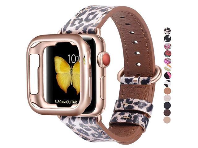 Compatible with Apple Watch Band 38mm 40mm with CaseWomen Genuine Leather with Rose Gold Adapter and BuckleThe Same Color as SESeries 6543 Gold.