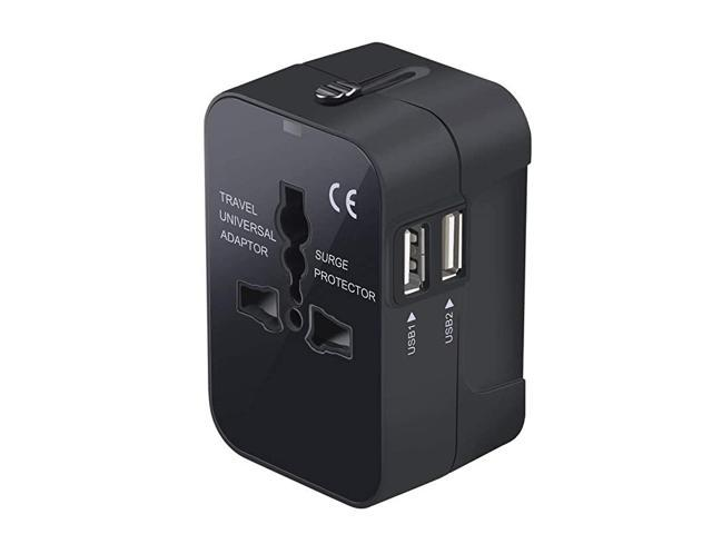 Travel Adapter, Worldwide All in One Universal Power Adapter AC Plug International Wall Charger with Dual USB Charging Ports for US EU UK AUS. photo