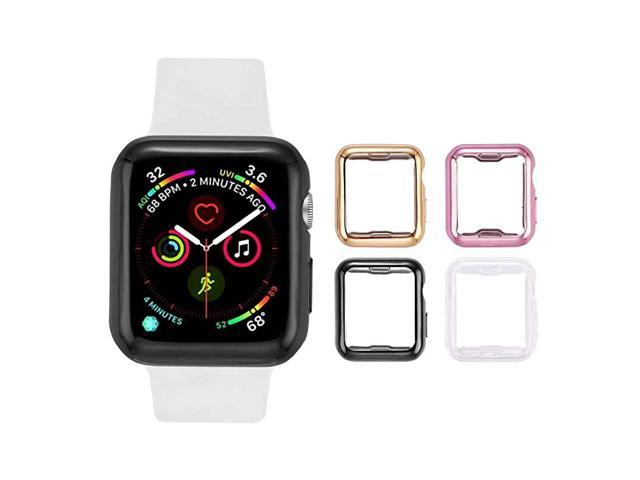 4 Pack Apple Watch Case 40mm with Builtin HD Clear UltraThin TPU Screen Protector Cover Compatible with Apple Watch Series 4 5 6 and Apple Watch SE.