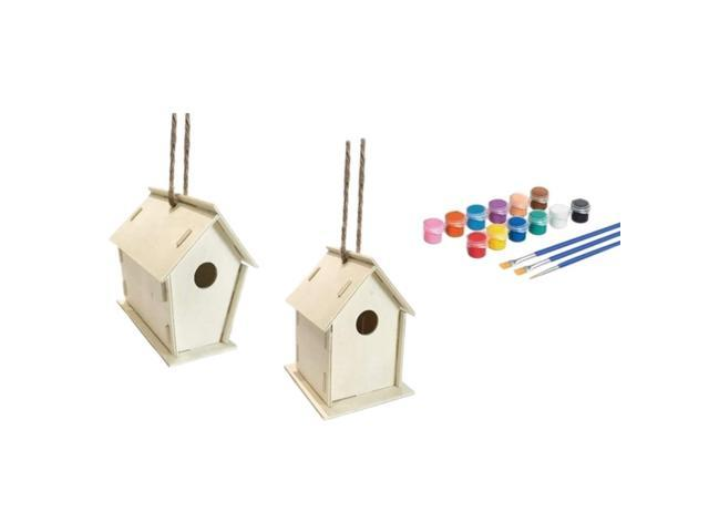 34 Pcs DIY Bird House Kit-Build and Paint Birdhouse Unfinished Paintable Bird House for Kids to Build Wooden Arts (Electronics) photo