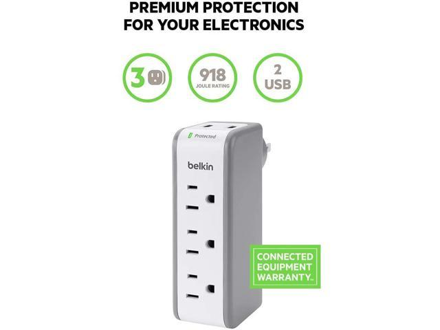 3-Outlet USB Surge Protector w/Rotating Plug- Ideal for Mobile Devices, Personal Electronics, Small Appliances and More (918 Joules) photo