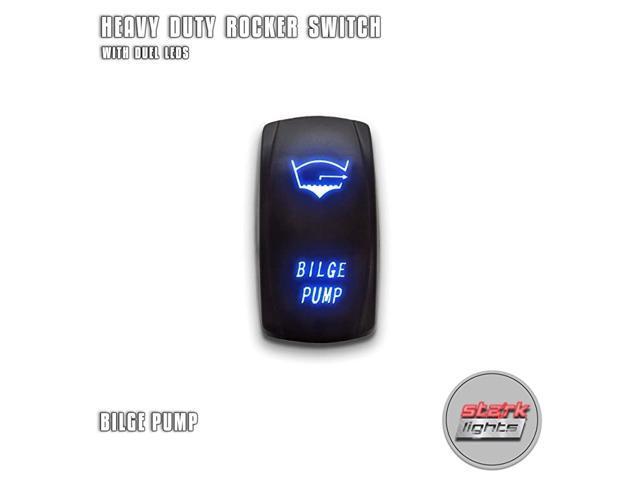 BILGE PUMP - Blue - 5-PIN Laser Etched LED Rocker Switch Dual Light - 20A 12V ON/OFF photo