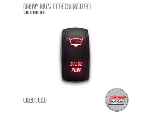 BILGE PUMP - Red - 5-PIN Laser Etched LED Rocker Switch Dual Light - 20A 12V ON/OFF photo
