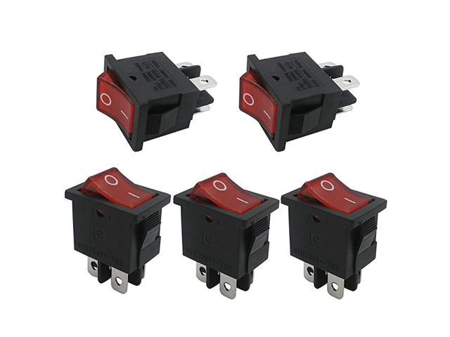 5pcs 110V Red Light Illuminated Snap-in Boat Rocker Switch Toggle Power DPST ON-Off 4 Pin, Use for Household Appliances Industrial Equipment. photo