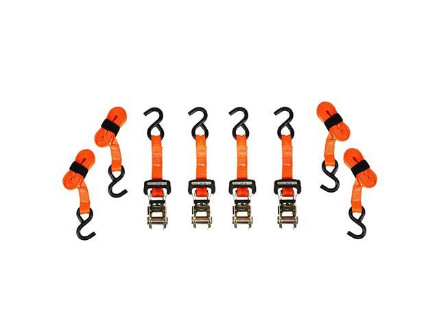 10-Foot Ratchet Straps (4pk) - 3,000 lbs Break Strength - 1,000 lbs Safe Work Load Haul Heavier Loads Like Motorcycles, Boats and Large Appliances. photo