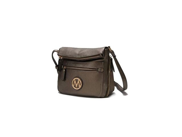 Crossbody Bag for Women PU Leather Expandable Messenger Purse Designer Pocketbook Handbag Shoulder Strap Pewter (Electronics Computer Components Laptop Parts) photo