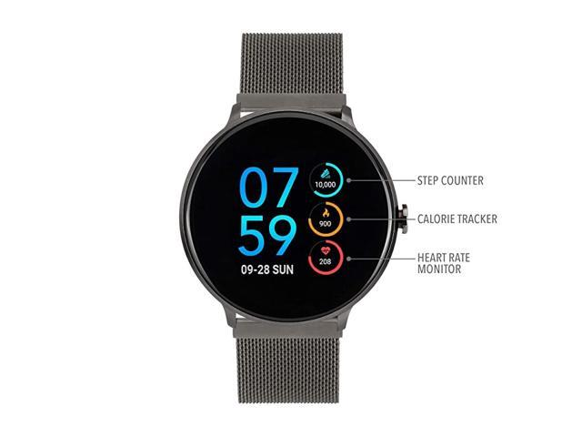 Sport Round Smartwatch with Waterproof Technology, Heart Rate Monitor, Multi-Sports Mode, Pedometer, for Android and iOS Smart Phones - Metal Mesh. (Watch Accessories) photo