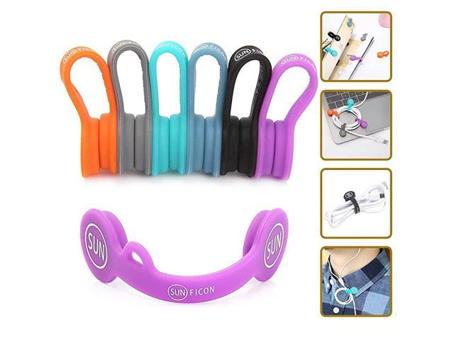6 Pack Magnetic Cable Clips Cable Organizers Earbuds Cords Winder Bookmark Clips Whiteboard Noticeboard Fridge Magnets USB Cable Manager Keeper. photo