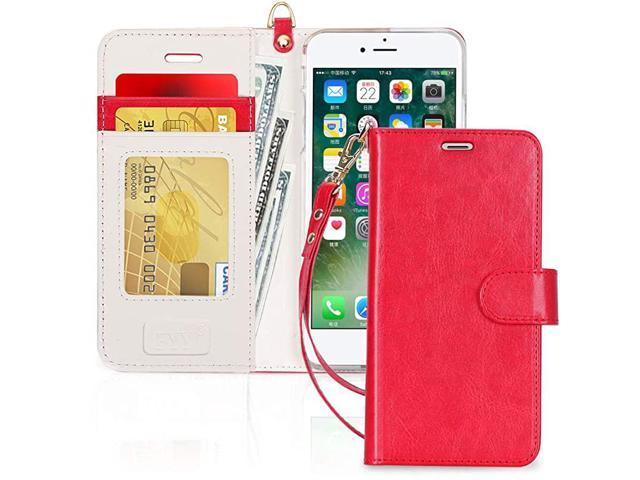 Case for iPhone 78SE 2020 Luxury PU Leather Wallet Phone Case with Card Holder Flip Cover for iPhone 7iPhone 8iPhone SE 2020 2nd Gen 47 inch Red