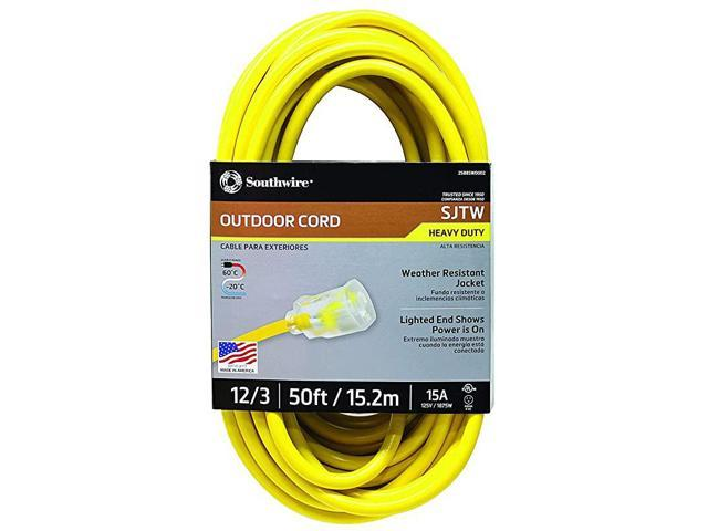 2588SW0002 Outdoor Extension Cord 123 American Made SJTW Heavy Duty 3 Prong Extension Cord Great for Commercial Use Gardening and Major Appliances. photo