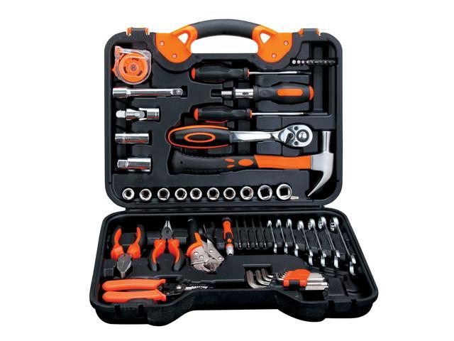55-Piece Tool Set General Household Hand Tool Kit with Plastic Toolbox Wrench Sockets Screwdrivers Pliers for Home Repair Mechanic Maintainence DIY. photo