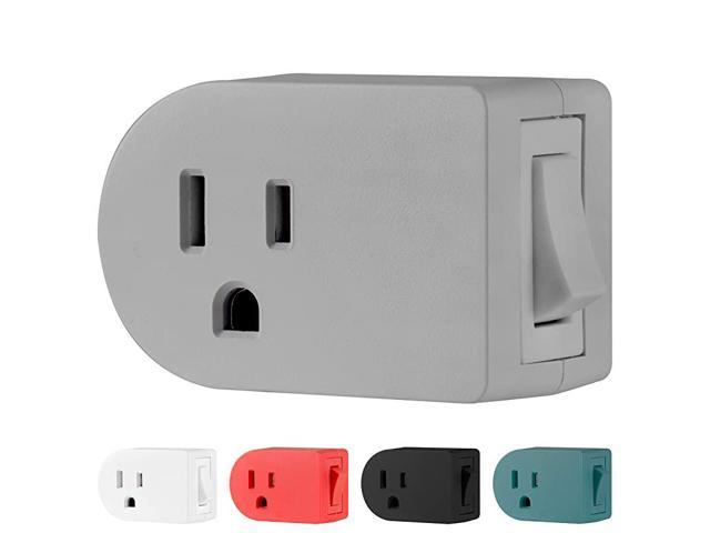 Grounded Outlet On/Off Power Switch, 3 Prong, Plug in Adapter, Easy to Install, For Indoor Lights and Small Appliances, Energy Saving, Grey, 49970. photo