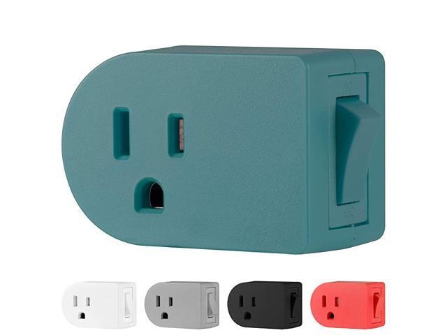 Grounded Outlet On/Off Power Switch, 3 Prong, Plug in Adapter, Easy to Install, For Indoor Lights and Small Appliances, Energy Saving, Teal, 49972. photo