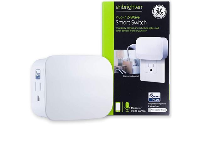Enbrighten ZWave Plus Smart Switch 1Outlet PlugIn Works with Alexa Google Assistant RepeaterRan Extender for Lamps Small Appliances ZWave Hub. photo