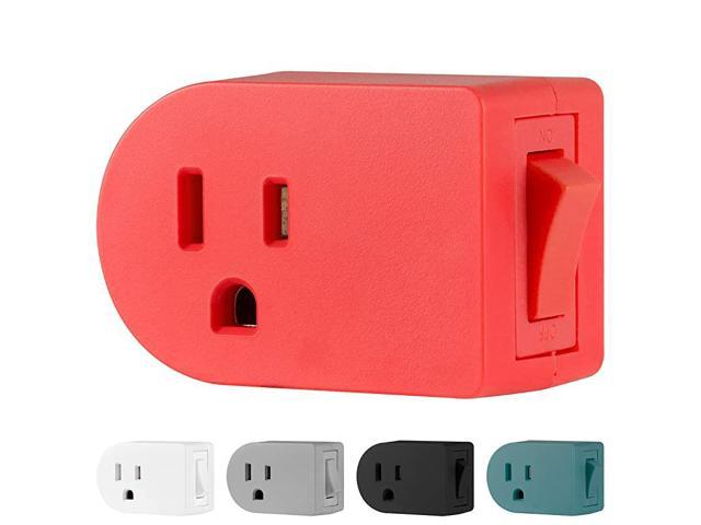 Grounded Outlet On/Off Power Switch, 3 Prong, Plug in Adapter, Easy to Install, For Indoor Lights and Small Appliances, Energy Saving, Coral. photo
