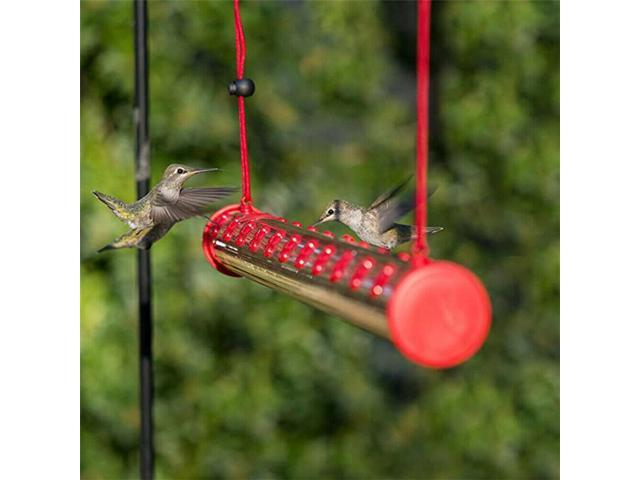Hummingbird Feeder With Hole Birds Feeding Pipe Red Transparent Tube Outdoor US (Electronics Computer Components Input Devices Mice & Trackballs) photo