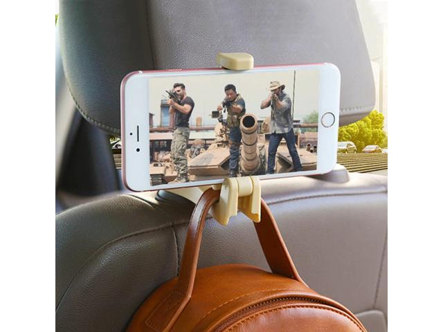 Headrest Hook with Phone Holder Seat Back Hanger Bag Handbag Purse Grocery Cloth Portable Multifunction Clips zer (Vehicles & Parts) photo