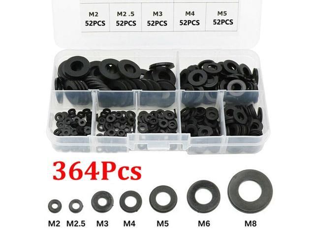 364pcs/Set Black Nylon Flat Ring Repair Washer Gasket For Metric M2-M8 Full Set Gaskets Wholesale Quick delivery CSV photo