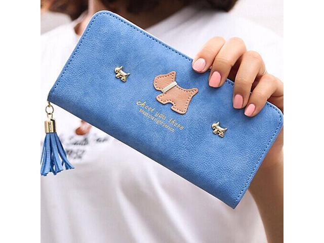 Women Girl Purse Clutch Change Coin Card Bag Handbag Long Tassel Dull Dog Wallet Light Blue - Light blue (Luggage & Bags) photo