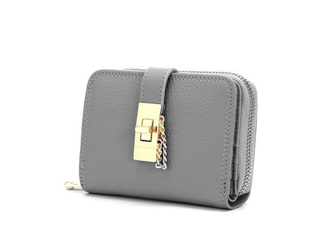 Women Genuine Leather Zipper Card Holder Chain Lock Short Purse Wallets #grey - Gray {average code} (Luggage & Bags) photo